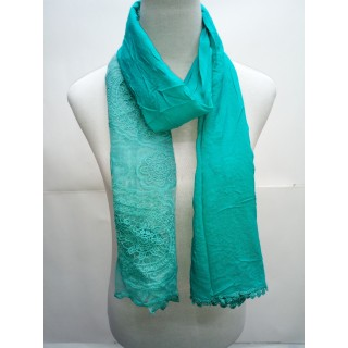 Cotton Net Stole- Mint Green