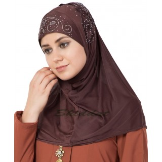 Jersey Instant Hijab - Coca Brown