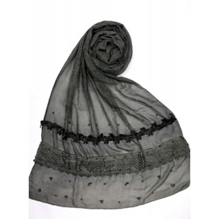 Designer Cotton Women's Stole -Dark Grey