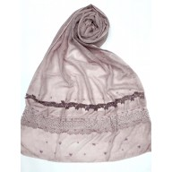 Designer Cotton Women's Stole - Light Purple