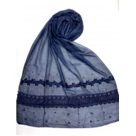 Designer Cotton Women's Stole - Blue
