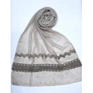 Designer Cotton Women's Stole - Light Brown