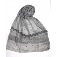 Designer Cotton Women's Stole - Grey