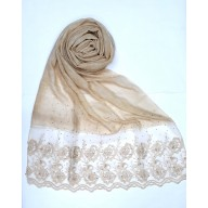 Designer Cotton Women's Stole with flower print - Light Brown
