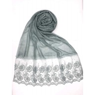 Designer Cotton Women's Stole with flower print - Light Green