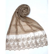 Designer Cotton Women's Stole with flower print - Brown