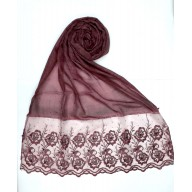 Designer Cotton Women's Stole with flower print - Maroon