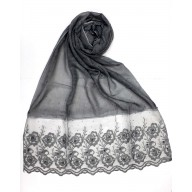 Designer Cotton Women's Stole with flower print - Black