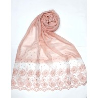 Designer Cotton Women's Stole with flower print - Pink
