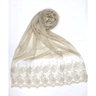 Casual Cotton Women's Stole with flower print - Light Brown