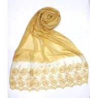 Designer Cotton Women's Stole with flower print - Yellow