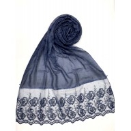 Designer Cotton Women's Stole with flower print - Navy Blue