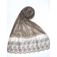 Designer Cotton Women's Stole with flower print - Dark Brown