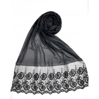 Designer Cotton Stole with flower print - Charcoal Black