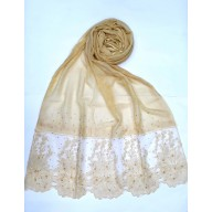 Designer diamond studded Stole with flower print - Yellow
