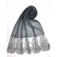 Designer Cotton diamond studded Women's Stole with flower print - Grey