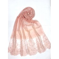 Designer Cotton diamond studded Women's Stole with flower print - Pink