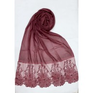 Designer Cotton diamond studded Women's Stole with flower print - Maroon