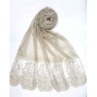Designer Cotton diamond studded Women's scarf with flower print - Light Brown