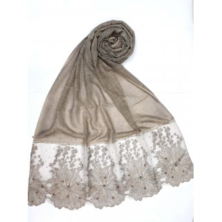 Designer Cotton diamond studded Women's Stole with flower print - Brown