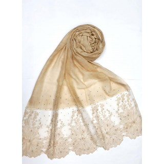 Designer Cotton diamond studded Stole with flower print - Golden color