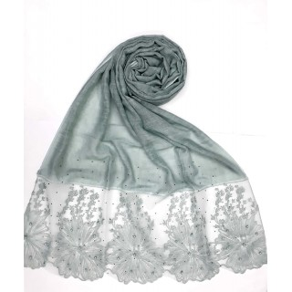 Designer Cotton diamond studded Stole with flower print - Mint Green
