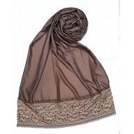 Designer Satin Women's Stole  - Peanut Brown