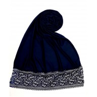 Designer Satin Women's Stole with printed border - Navy Blue