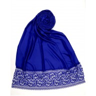 Designer Satin Women's Stole with lace printed border - Royal Blue