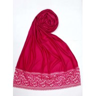 Party Wear Satin Women's Stole with printed border - Pink