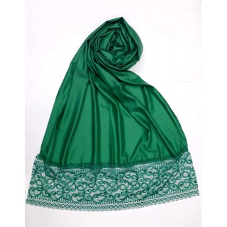 Designer Satin Women's Stole with printed border - Green