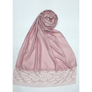 Designer Satin Women's Stole with printed border - Puce Pink