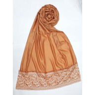 Designer Satin Women's Stole with lace printed border - Orange