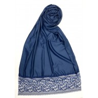 Designer Satin Women's Stole with lace printed border - Blue
