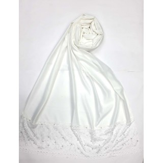 Designer Satin Women's Stole with lace printed border - White