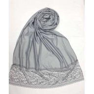 Designer Satin Women's Stole with Lace printed border - Grey