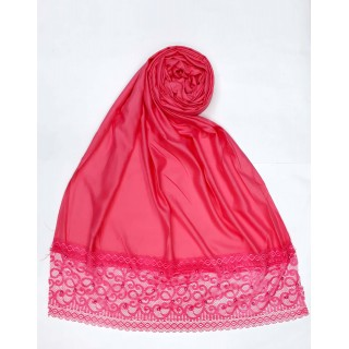 Designer Satin Women's Stole with lace printed border - Pink