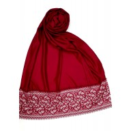 Designer Satin Women's Stole with Lace printed border - Maroon