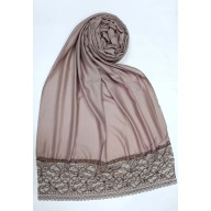 Designer Satin Women's Stole with Lace printed border - Brown