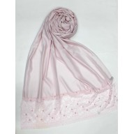 Designer Satin Women's Stole with Lace printed border - Rose Gold