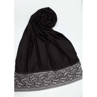 Designer Satin Women's Stole with Lace printed border - Chocolate Brown