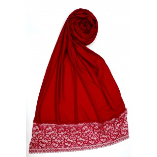 Designer Satin Women's Stole with Lace printed border - Red