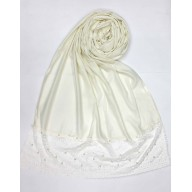 Designer Satin Women's Stole with Lace printed border - Cream