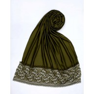 Designer Satin Women's Stole with Lace printed border - Dark Green