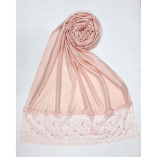 Designer Satin Women's Stole with printed border - Light Pink