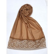 Designer Satin Women's Stole with printed border - Brown