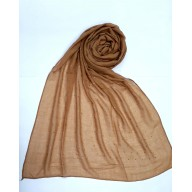Plain Sparkling Diamond studded Cotton Women's Stole - Light Brown