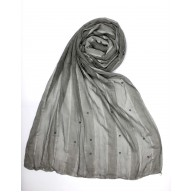 Striped Cotton Women's Stole - Grey