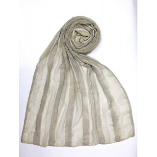 Striped Cotton Women's Stole - White
