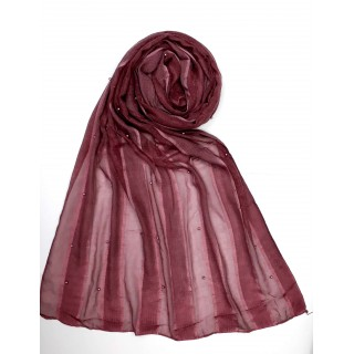 Striped Cotton Women's Stole - Maroon